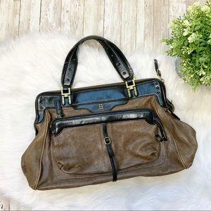 OLIVIA HARRIS Brown Leather Distressed Handbag